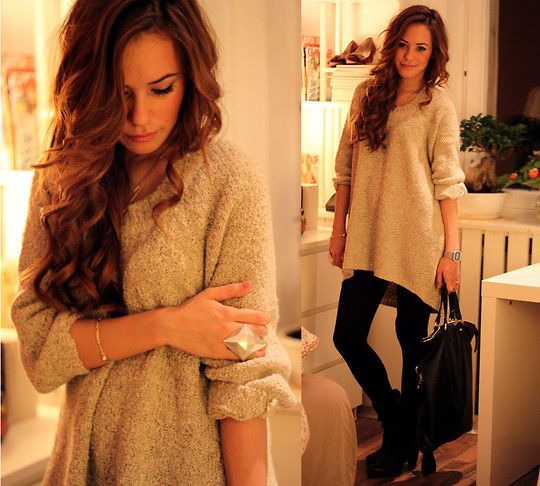 """Gina Tricot Jumper, Topshop Leggings, H Bag, Bianco Boots, Asos Ring //""""In sheep's clothing"""" by Teetharejade .com // LOOKBOOK.nu"""