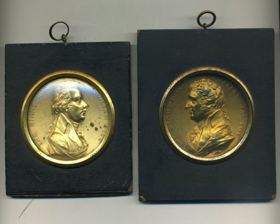 William Pitt and Charles James Fox, bronze gilt plaques, c. 1800, by Peter Wyon