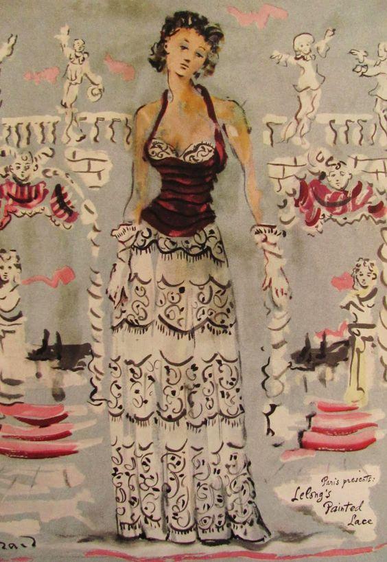 Christian Berard. Lucien Lelong evening gown, 1940.
