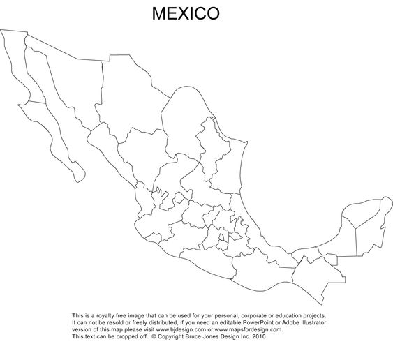 Mexico Blank Printable Map Royalty Free Clip Art CC