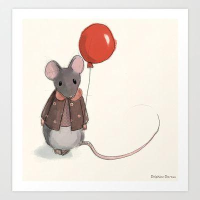 la+souris+au+ballon+Art+Print+by+Delphine+Doreau+-+$19.99