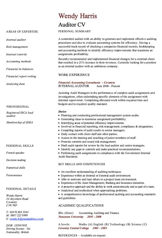 Internal Auditor Resume Sample - Http://Resumesdesign.Com/Internal