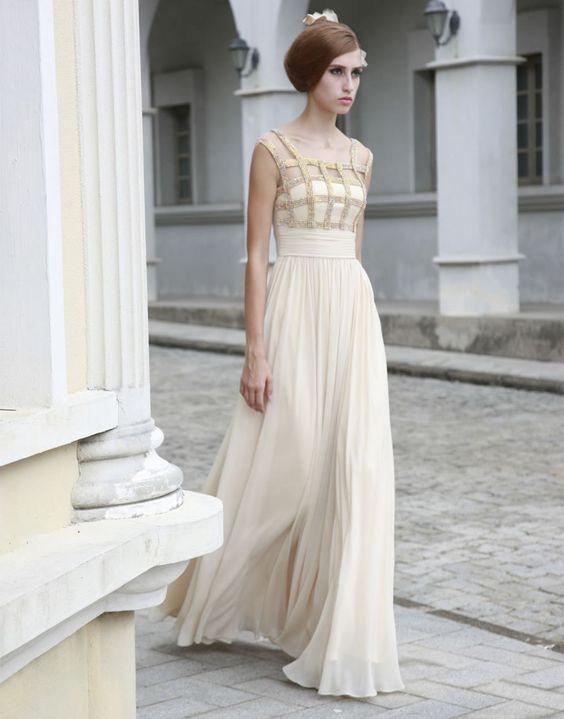 Chiffon Four Shoulder Straps Embellished Pleated Bodice Prom Dress