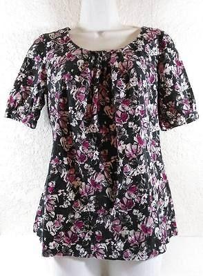 APT 9 Stretch Gray BLOUSE Top Floral Shift Scoop Neck Ladies Size Medium B237