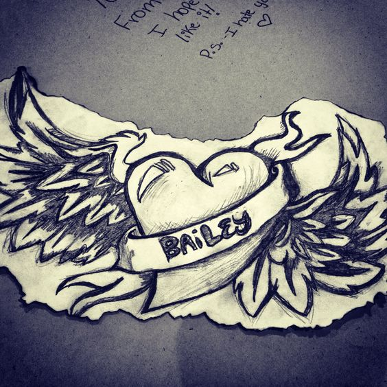 Heart Drawings For Your Boyfriend Heart, Wings drawing a...