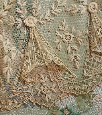 ANTIQUE TULLE SWAG LACE TRIM RAISED FLOWER PATTERN ~ from a French doll's dress
