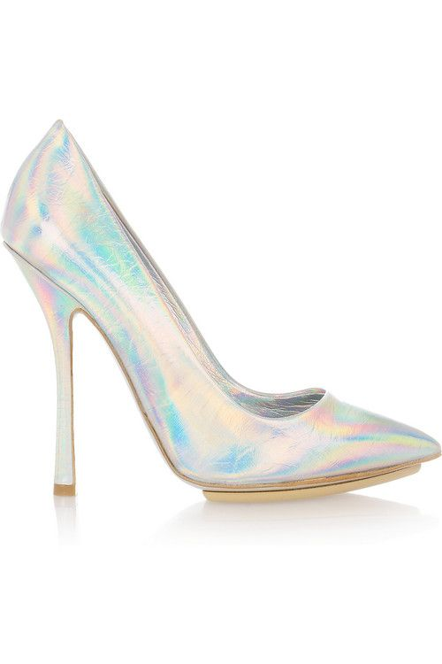 Stella McCartney hologram iridescent silver heels  Shoes