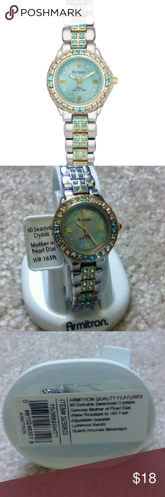 Women's Two-Tone Bracelet Watch - With blue Swarovski crystals - Gold-tone bezel set with 20 clear & 8 light blue crystals - Silver-tone adjustable bracelet with 32 light blue crystals down the central canal - Water-resistant to 165 feet - Genuine mother-of-pearl dial - Requires a battery Armitron Accessories Watches