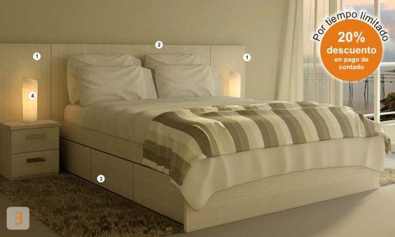Mueble dormitorio hogar cabecera cama matrimonial dos 2 - Habitacion infantil dos camas ...