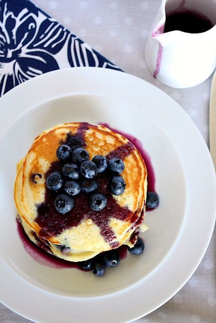 Blueberry Pancakes with Blueberry Maple Syrup