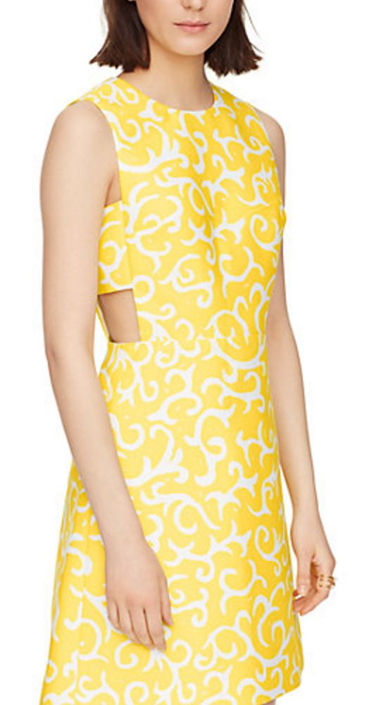 Yellow and White Swirl Pattern Cut-out Back Sheathe Dress