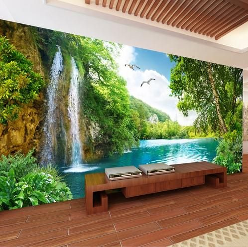 3d Double Waterfall Lake Forest Scene Wall Mural For Home Or Business Waterfall Wallpaper Waterfall Wall 3d Wallpaper Home