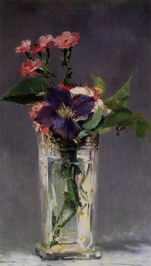 Edouard Manet - Clematis in a Crystal Vase. Manet's still lifes, between tradition and modernity, evoke an elegant and sensual world. Manet found inspiration in the most ordinary subjects, to which he gave a carnal presence. In spite of their simplicity, his compositions were subtly elaborate, whether they be a lemon, an asparagus, violets, peonies…: