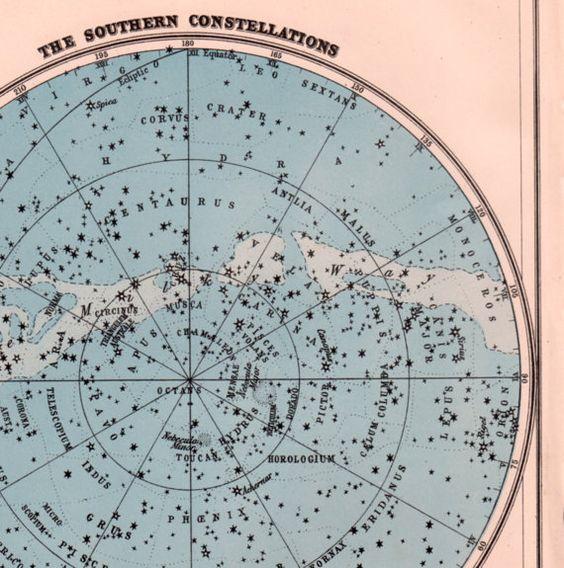 Southern Hemisphere Star Map Southern Stars 1930s
