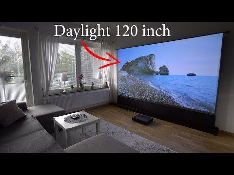 Xiaomi 4k Laser Projector On 120 Floor Rising Alr Projection Screen Youtube Projection Screen Projector Best Projector