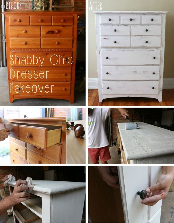 If you love the look of distressed pieces, this is a simple hack that will save you tons. This simple before and after shows you how to transform an old dresser into a chic, modern one. Step by step tutorial with pictures here: www.ehow.com/...