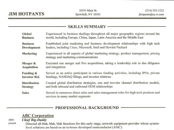 Great Skill Resume An Expert Resume Idea Business Skills For Resume