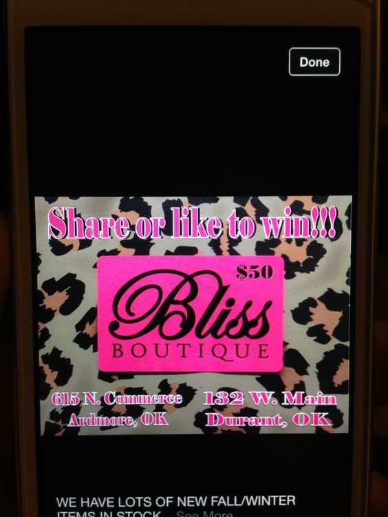 Pin or like to win a $50 gift certificate from a Bliss Boutique - certificate winner