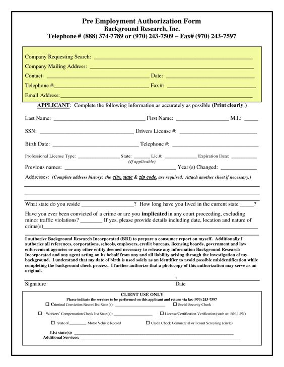 Pre Employment Authorization Form Background Checks Save Companies