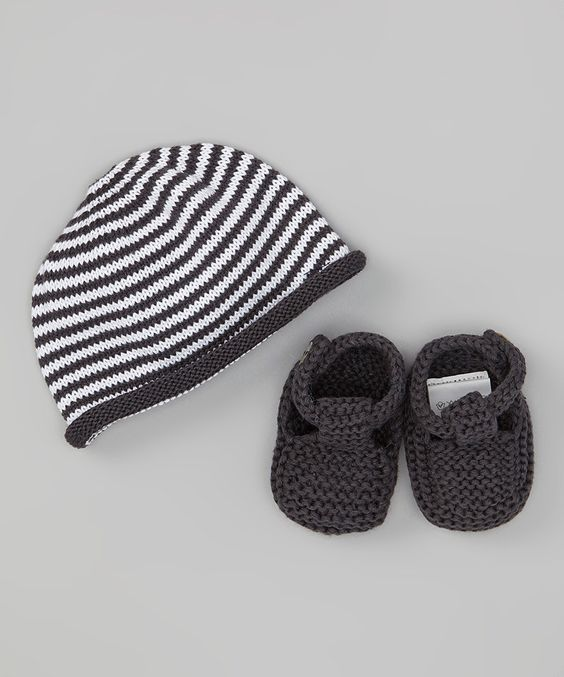 Look what I found on #zulily! Loralin Design Dark Gray Booties & Beanie by Loralin Design #zulilyfinds