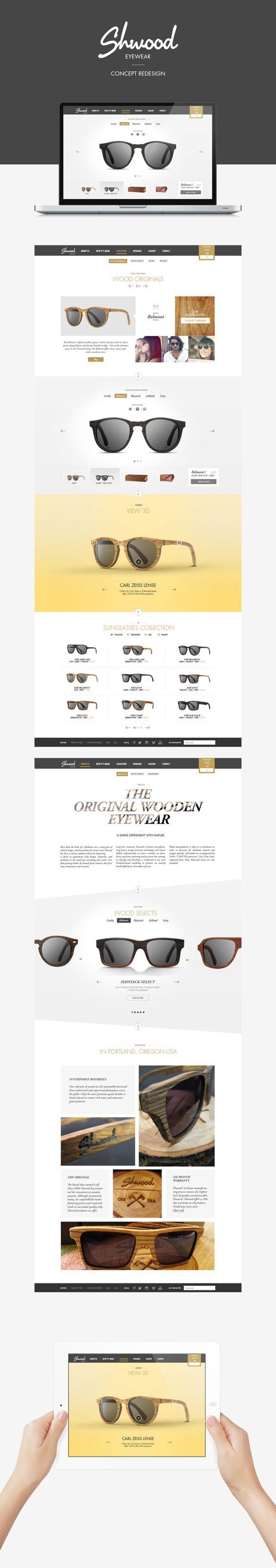 Shwood sunglasses - eshop Concept Redesign by Manuel Vélin, via Behance