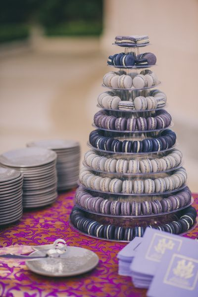 Wedding Favors - Lavender and Purple Macaroons as Wedding Favors | WedMeGood  #favors #wedmegood #lavender #purple #macaroons #centrepiece #food