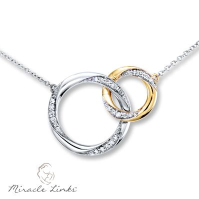 This Miracle Links™ necklace represents the unbreakable bond between a mother and her child. A 10K white gold circle interlinks with a smaller 10K yellow gold circle, and both are decorated in round diamonds. The design suspends from a cable chain that adjusts from 17 to 19 inches and is secured with a spring ring clasp. The necklace has a total diamond weight of 1/6 carat. Add a new link (sold separately) each time your family grows, and celebrate the miracle all over again. Diamond Total…