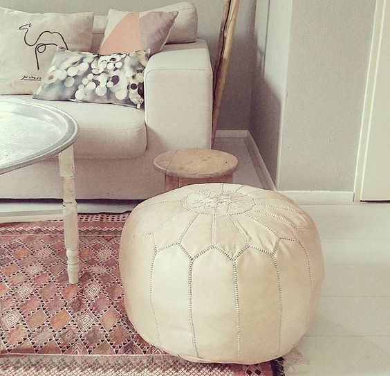 Naturel Moroccan Pouf | Marokkaanse Poef Naturel - House of Khmissa