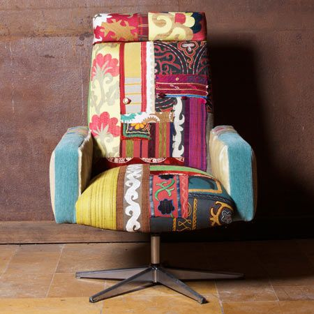 Another One Bright Ethnic Textiles Pieced Together On Mid - Designer chairs recycling vintage furniture frames modern chairs