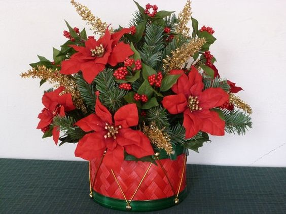 Holiday baskets poinsettia and christmas holidays on