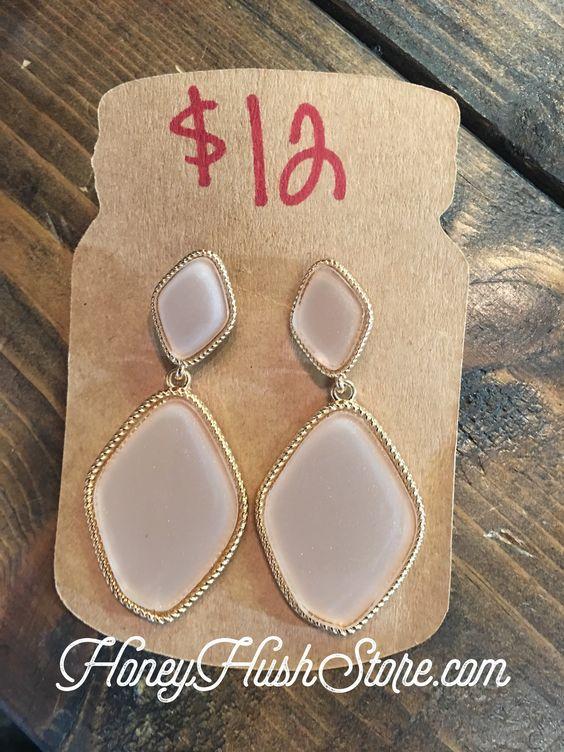 Light Pink Shimmer Stone Earings
