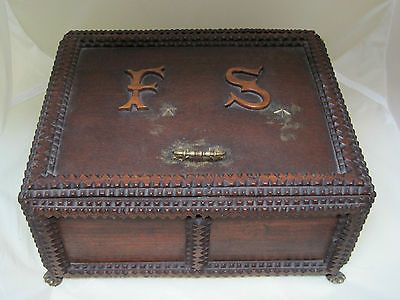 Antique Tramp Art Carved Wood Box Arts & Crafts Style w Metal Pad Feet 10 Inches