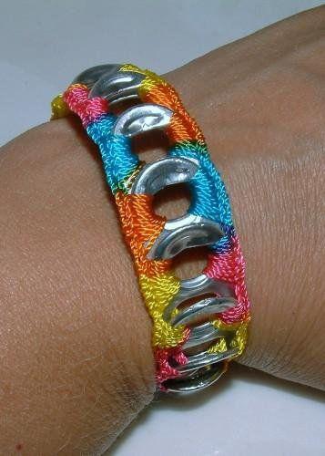 So cute, crocheted can tab bracelet!