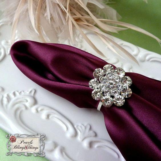Rhinestone Napkin Ring Holders Wedding By PearlsBlingsNThings 195