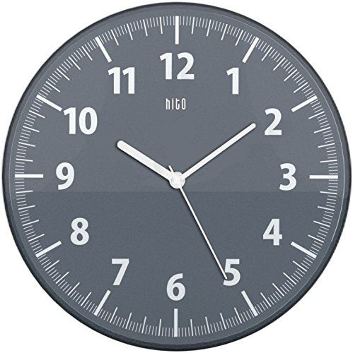 Hito Silent Wall Clock Non Ticking 11 Inch Excellent Accurate Sweep Movement Clear Frame Modern Decorative For Kitchen Living Room Bathroom Bedroom Office Dark Gray
