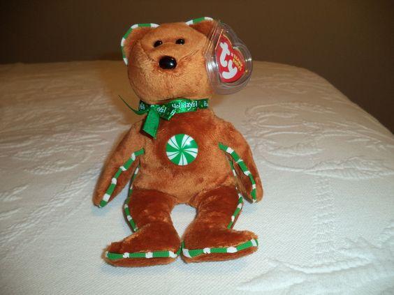 Ty Beanie Baby Spearmint Bear gingerbread beanie Hallmark exclusive