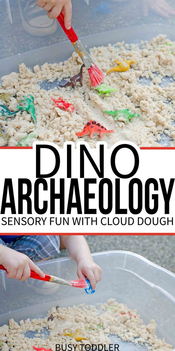 Dinosaur Archaeology: Cloud Dough Sensory - use two simple ingredients and a few dinosaurs to make an archaeological dig for your toddler and preschoolers; taste safe sensory