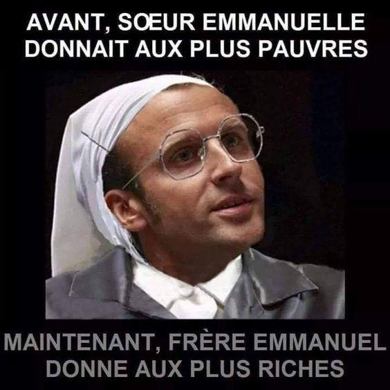 Avant #soeu emmanuelle donnait aux plus #pauvres , maintenant #frère emmanuel donne au plus #riches !!! #blague #drôle #drole #humour #mdr #lol #vdm #rire #rigolo #rigolade #rigole #rigoler #blagues #humours