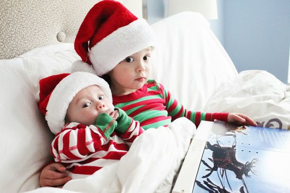 Sibling Christmas Card: Reading Twas the Night Before Christmas