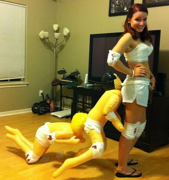 Not my idea of a costume but it was Sarah's halloween costume last year. DIY Human Centipede. So gross...so funny LMAO