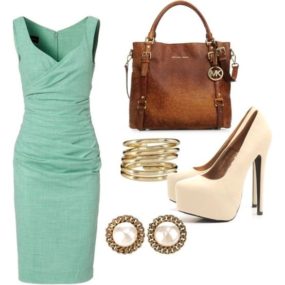 for meeting the parents?: Teal Dress Outfits, Work Party, Dream Closet, Michael Kors Bag, Wedding Style, Work Outfits, Classy Outfits