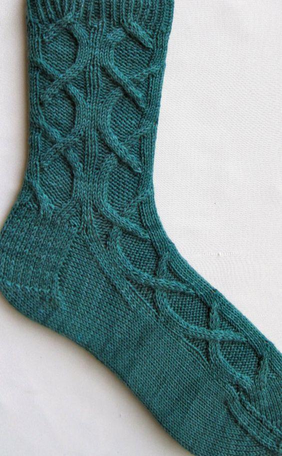 Cable Knit Sock Pattern : Knit Sock Pattern: Celtic Cable Socks Knitting Sock Pattern Cable, Knit soc...
