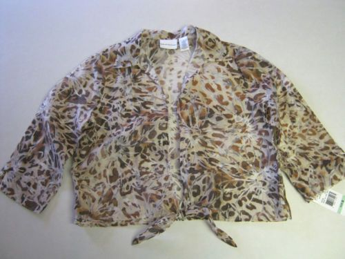 Womens Jacket Shrug 8 Alfred Dunner Brown Tan Sheer 3/4 Sleeve NEW