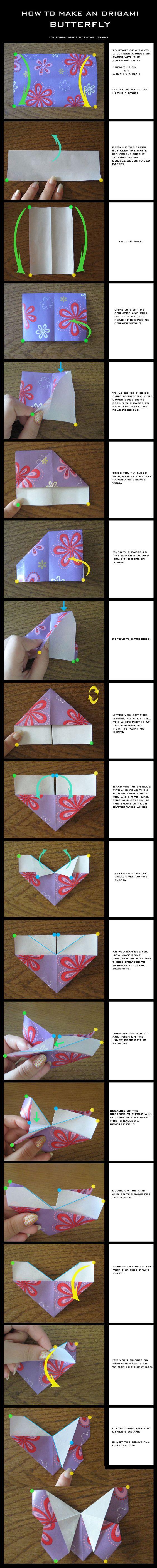Tutorial: Origami Butterfly by DarkUmah.deviantart.com on @deviantART