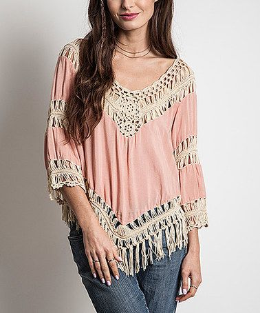Another great find on #zulily! Blush Crochet Fringe Scoop Neck Tunic #zulilyfinds  39.99