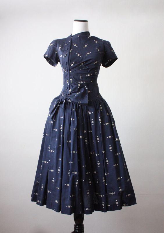 Vintage 1950&-39-s constellation print dress - Pinterest - Day dresses ...
