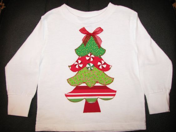 Christmas tree appliqued tshirt by NanasCraftyCreations on Etsy, $17.50