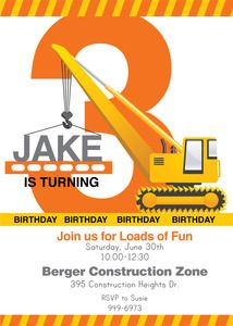 Image of Construction printable Invitation by Wants and Wishes