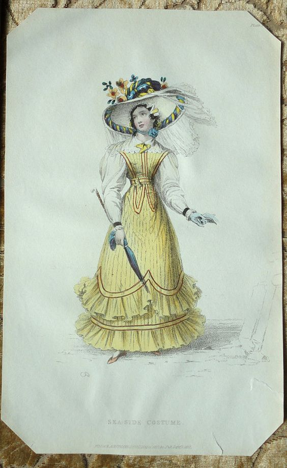 1827 Hand-Colored Ackerman's Fashion Plate - Yellow Bird Sea Side Costume and Picture Hat