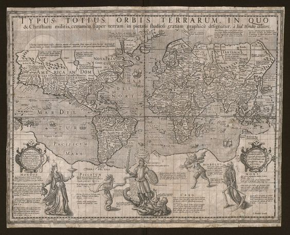 1597 | Jodocus Hondius, 'Typus totius orbis terrarum in quo & Christiani militis certanem super terram ... graphicè designatur à Iud. Hondio caelatore' (Source: Flandrica.be | Bruges Public Library) [CreativeCommons BY-NC-SA BE 2.0]